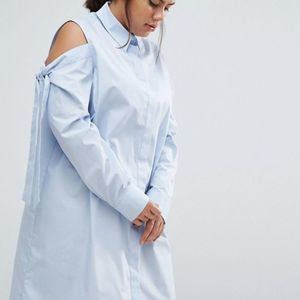 ASOS light blue cold shoulder shirt dress Size 2